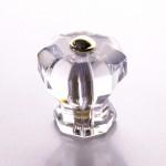 Möbelknopf Glas klassisch facettiert mit Messing Kappe