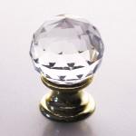 Möbelknopf Glas klassisch facettiert Messing poliert 60060